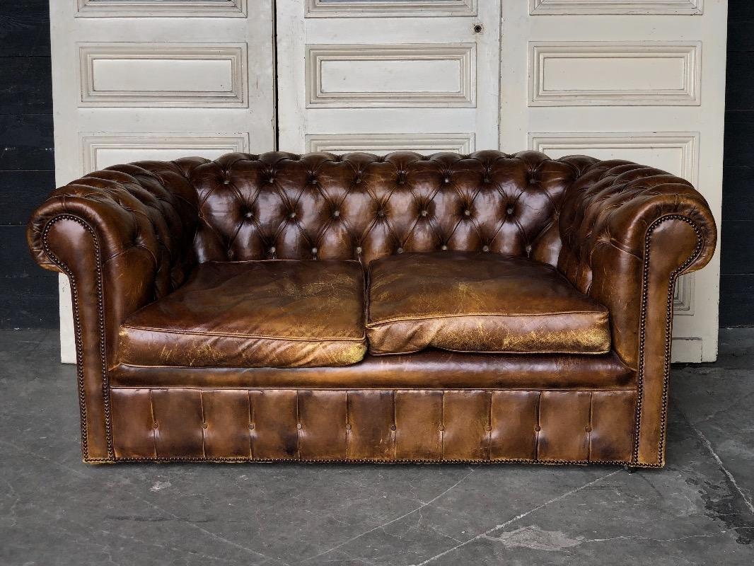 Marvelous Antique Brown Leather Chesterfield Sofa Sofas Items By Pabps2019 Chair Design Images Pabps2019Com