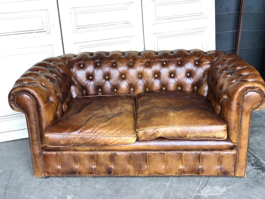 Antique Brown Leather Chesterfield Sofa Antiqueswarehouse