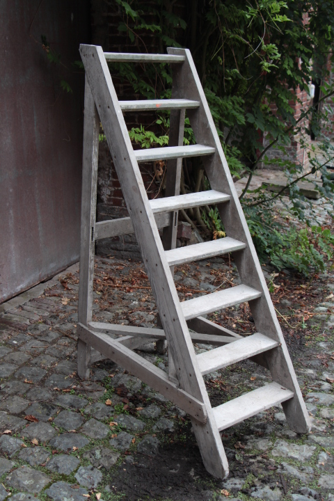 Staircase for bookcase with old paints  Mobilier