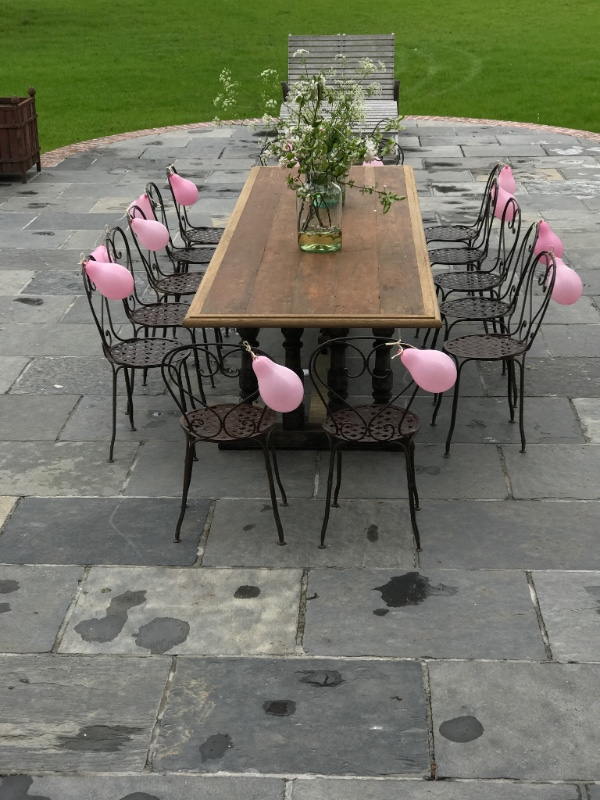 Large garden party bespoke table#wrought iron garden chairs #glass ...