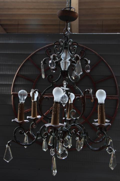 wrought iron crystal chandelier from the 40s lustres luminaires european antique warehouse. Black Bedroom Furniture Sets. Home Design Ideas