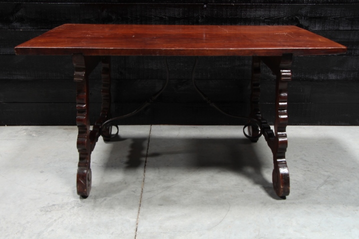 Walnut Spanish Table With Wrought Iron Stretcher